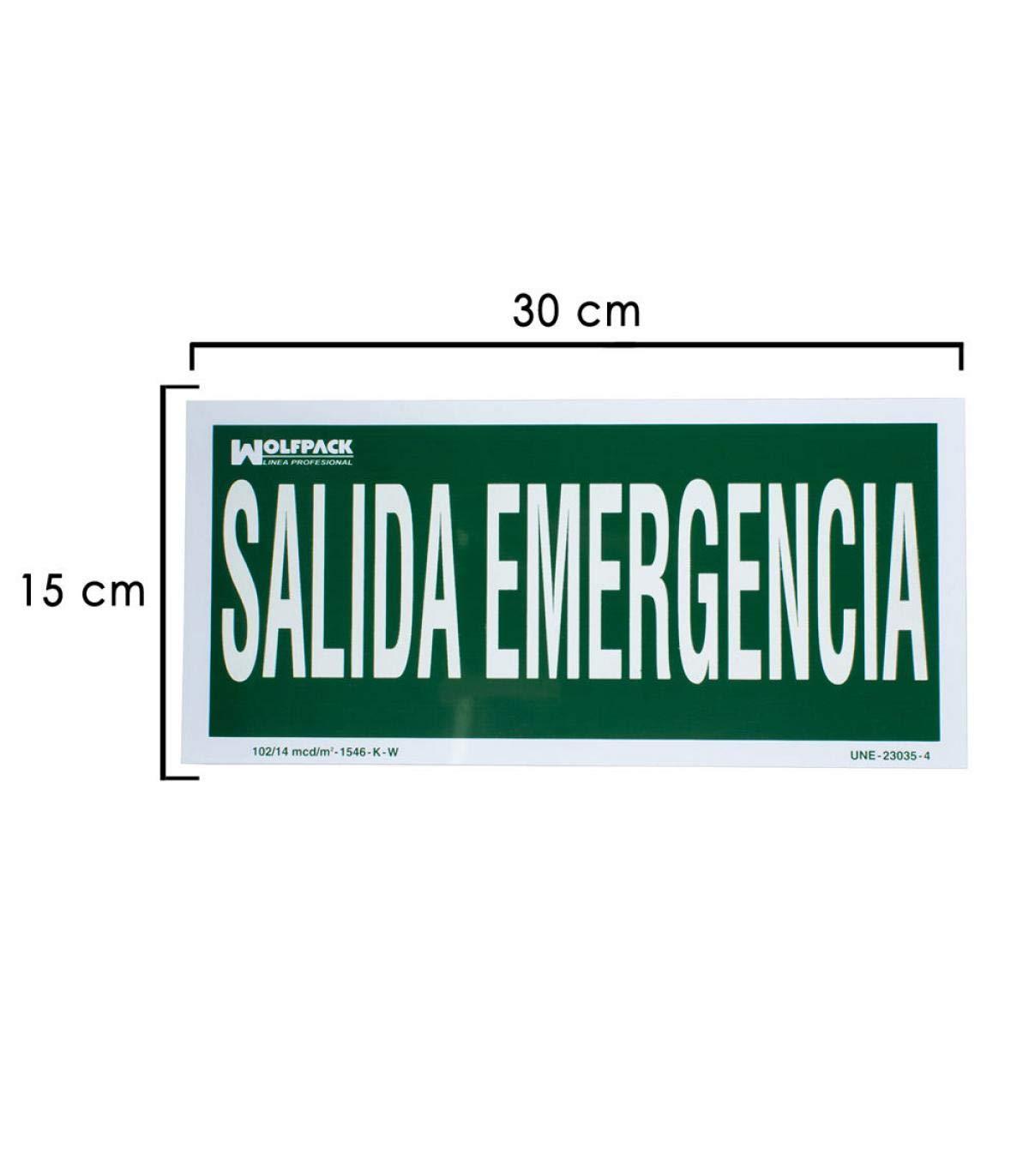 Wolfpack 15051255 Cartel Salida De Emergencia 15x30 cm.