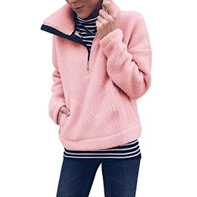 Yvelands Mujeres Invierno Cálido Outwear Manga Larga Casual Abrigo Sólido Pullover Sudadera Top Blusa: Amazon.es: Ropa y accesorios