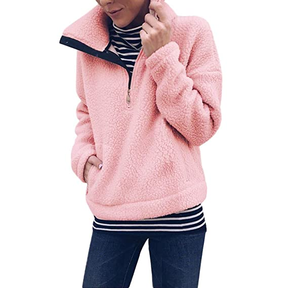 46fe1615b918 Fleecepullover Damen Rovinci Frauen Winter Warm Langarm Reißverschluss am  Ausschnitt Sweatshirt Pullover Tops Bluse Teddy Fleece Zipper Mantel  Langarmshirt ...