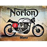 AJS Matchless Motorcycle Sign Cast Iron Vintage Style Finish Hand Painted Classic British Motorbikes Retro Garage Plaque 24cm Man Cave Workshop AMC Isle Of Man TT Winners