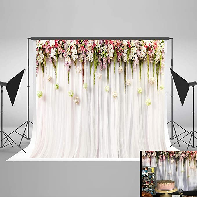 8x12 FT Pink and White Vinyl Photography Backdrop,Lace Old Fashioned Border on Pink Color Wedding Theme Feminine Print Background for Baby Shower Bridal Wedding Studio Photography Pictures