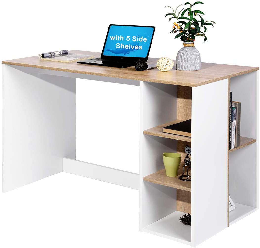 Office-Computer Desk with Storage, Study-Work Desk with 5 Shelves, Students-Writing Desk Home Laptop Study Table Modern Reception Room Tables Large Workstation with Bookcase BREN11 Beech and White
