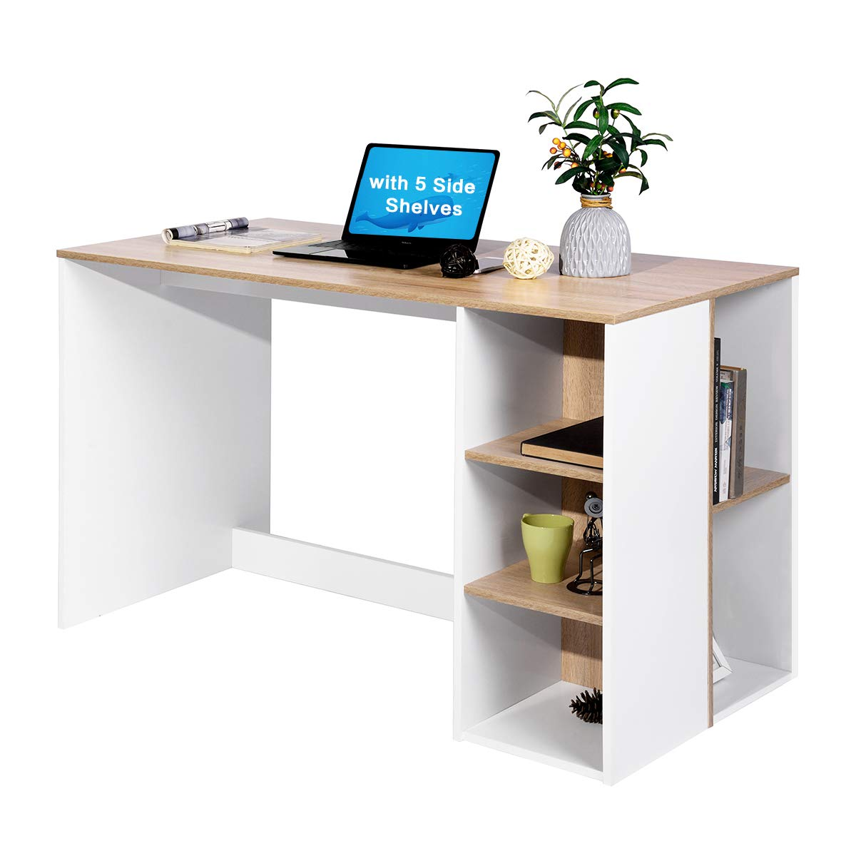 Coavas Office-Computer Desk with Storage, Study-Work Desk with 5 Shelves, Students-Writing Desk Home Laptop Study Table Modern Wood Hutch Large Workstation with Bookcase BREN11 /Beech and White