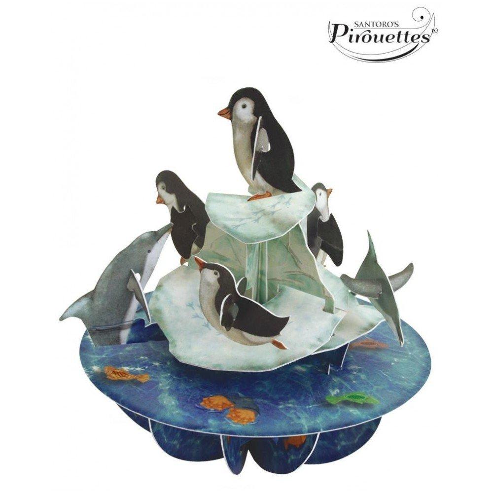 Santoto 3D Pirouette Greeting Card - Penguins Santoro-Lonodn PS032