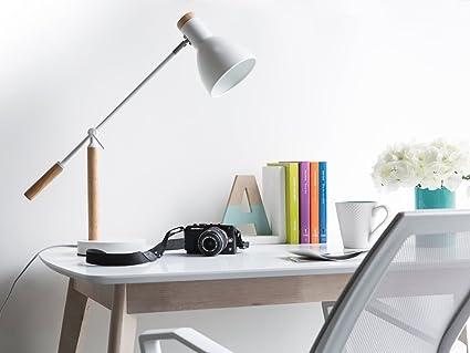 Lampe de bureau blanche en bois et en métal peckos: amazon.fr