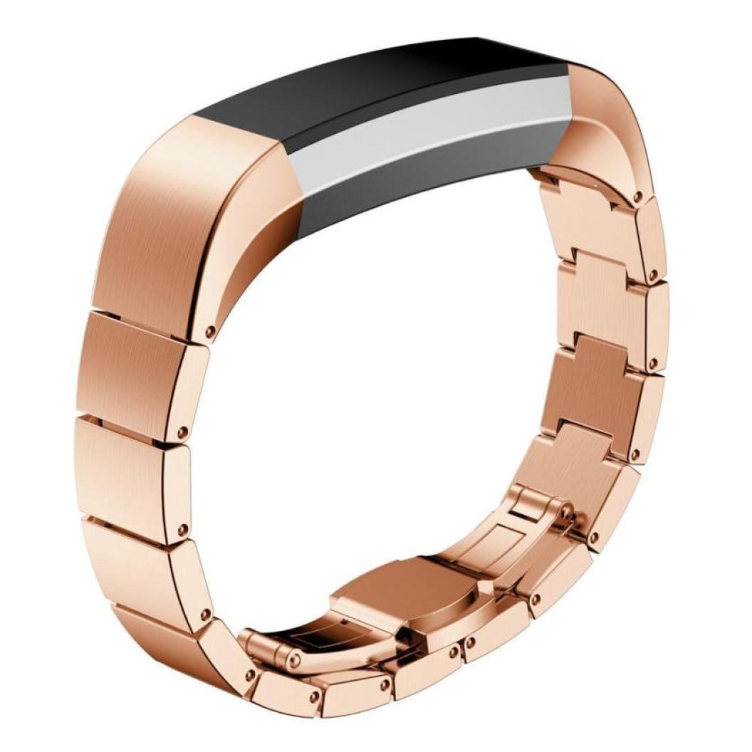 For Fitbit Alta HR Bands, Gotd Replacement Accessories Bracelet Band Stainless Steel Smart Watch Strap For Fitbit Alta HR (Rose Gold)