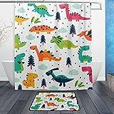 BAIHUISHOP Cute Dinosaurs Cartoon 3-Piece Bathroom Set, Machine Washable for Everyday Use,Includes 60x72 Inch Waterproof Shower Curtain, 12 Shower Hooks and 1 Non-slip Bathroom Rug Carpet - Set of
