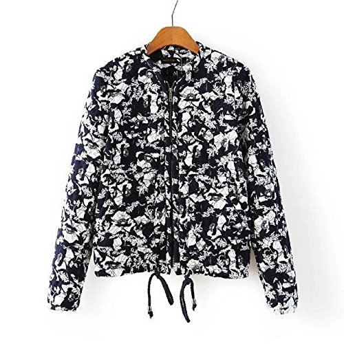(Women's Blue White Porcelain Floral Baseball Cotton-Padded Thin Coat Jacket (Asian L))