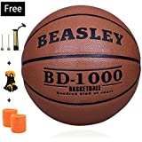 NZACE Basketball outdoor/indoor game balls Leather street basketballs Competition Official size 7/29.5 with Pump, Needles, Net(Gray)