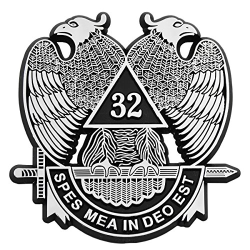 32nd Degree Double Headed Eagle Scottish Rite Chrome Finish ABS Plastic Car Auto Emblem - 3
