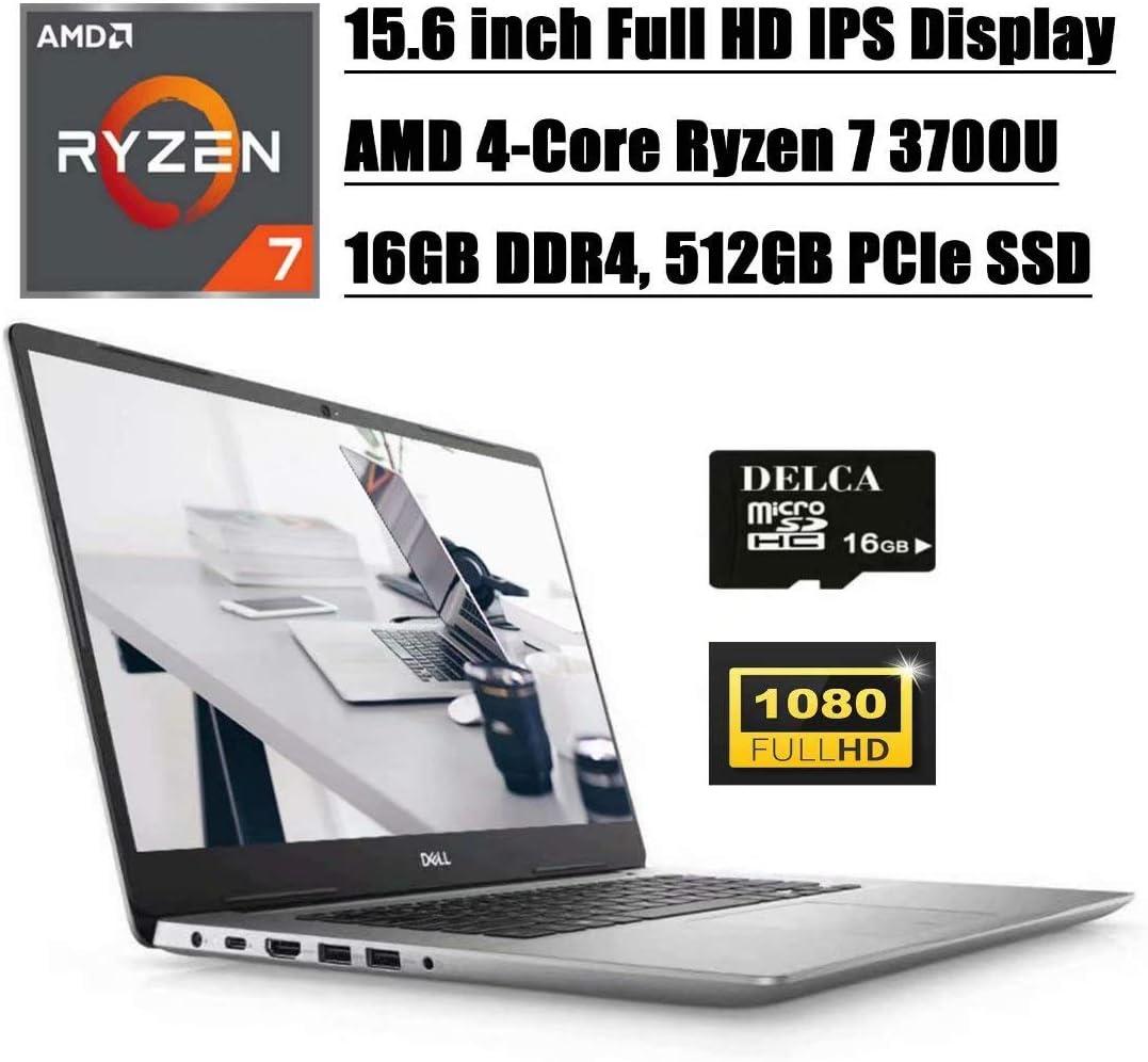 "Dell Inspiron 15 5585 5000 2020 Premium Business Laptop I 15.6""FHD IPS I AMD Quad-Core Ryzen 7 3700U(> i7-7500U) I 16GB DDR4 512GB PCIe SSD I Backlit KB FP WiFi Win 10 +Delca 16GB Micro SD Card"