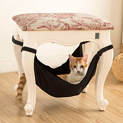 BUYITNOW Indoor Cat Hanging Hammock Bed Under Chairs Table Large Soft Pet  Crib For Crate Cage