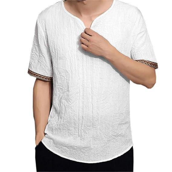 Camisas de lino tradicionales para hombres Blusas sueltas con cuello en V