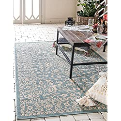 Unique Loom Outdoor Collection Traditional Floral Border Transitional Indoor and Outdoor Light Blue Area Rug (2' x 3')