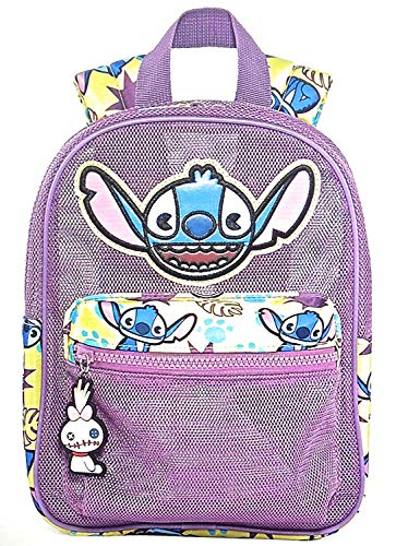 Little Kid's Disney Lilo and Stitch Purple Mesh Backpack with Zipper Charm