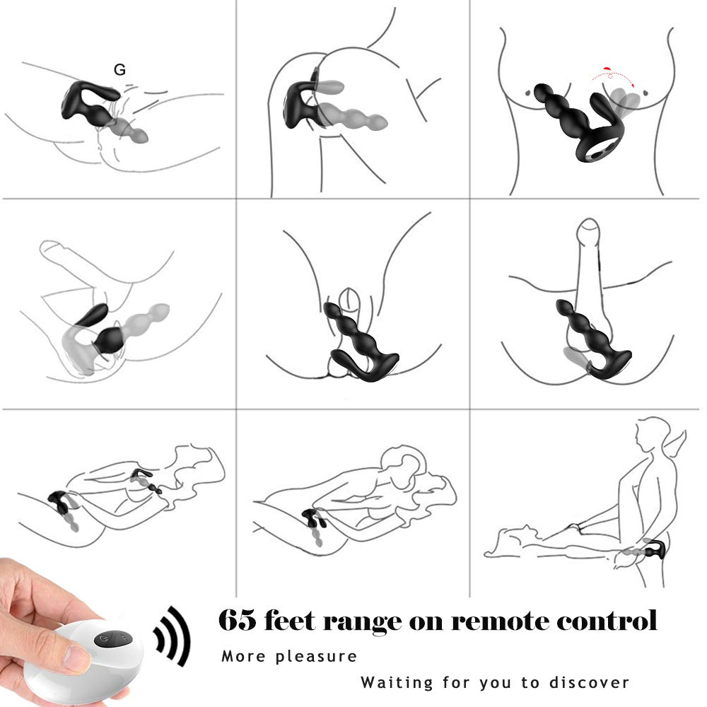 Male Prostate Massager with Testes Stimulation, 9 Speed Vibrating Anal Butt Plug Dual Motors G-spot Vibrator & Anal Stimulator Wireless Remote Anus Sex Toy for Men, Woman & Couples by Lnabni (Image #3)