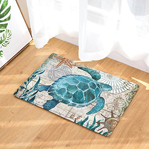 1Pc Sea Animal Door mat, Entrance Door, Cute Cartoon Cozy Carpets, Home Decor Kitchen Mats, Light Thin Flannel, Coral Fleece, Turtles Image, Anti Slip, 60x40cm, Water absorption