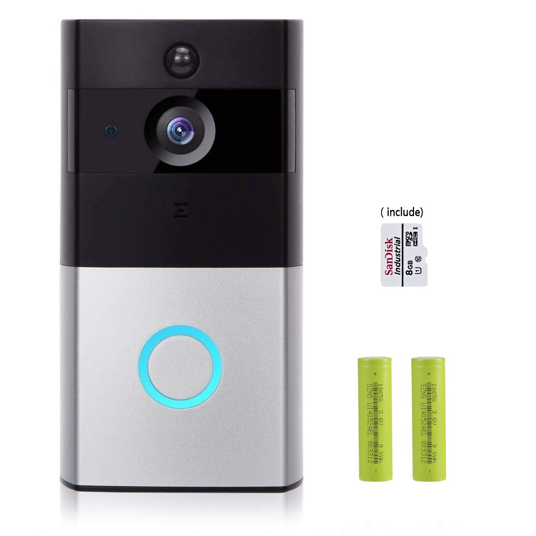 Video and Smart Doorbell,720P HD Wifi Security Camera and 8G Memory Storage, Real-Time Two-Way Talk and Video, Night Vision, PIR Motion Detection and App Control for IOS and Android