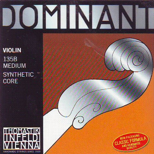 - Thomastik Dominant 4/4 Violin String Set - Medium Gauge - Steel Ball-End E