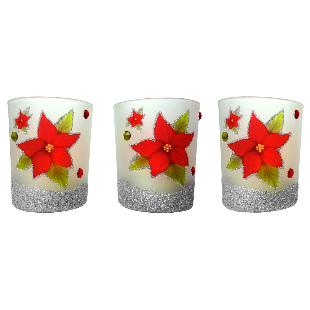 BANBERRY DESIGNS Christmas Poinsettia - Set of 3 Frosted Glass Candle Holders a Red Glitter Poinsettia Design - 3 White Flameless Tealight Candles Included 9738
