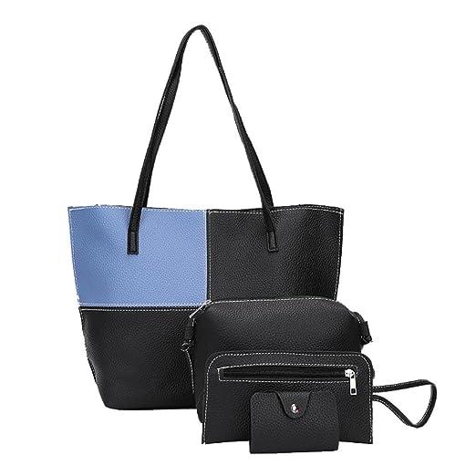 4Pcs/Set Bag, FDelinK Womens Satchel Purses and Handbags Shoulder Tote Bags Crossbody Wallets
