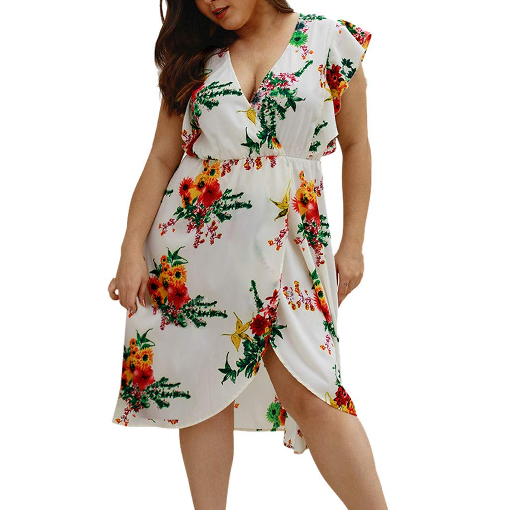 Women's Dress Deep V Floral Flowy Ruffle Cap Sleeve Split Midi Summer Beach Dresses White