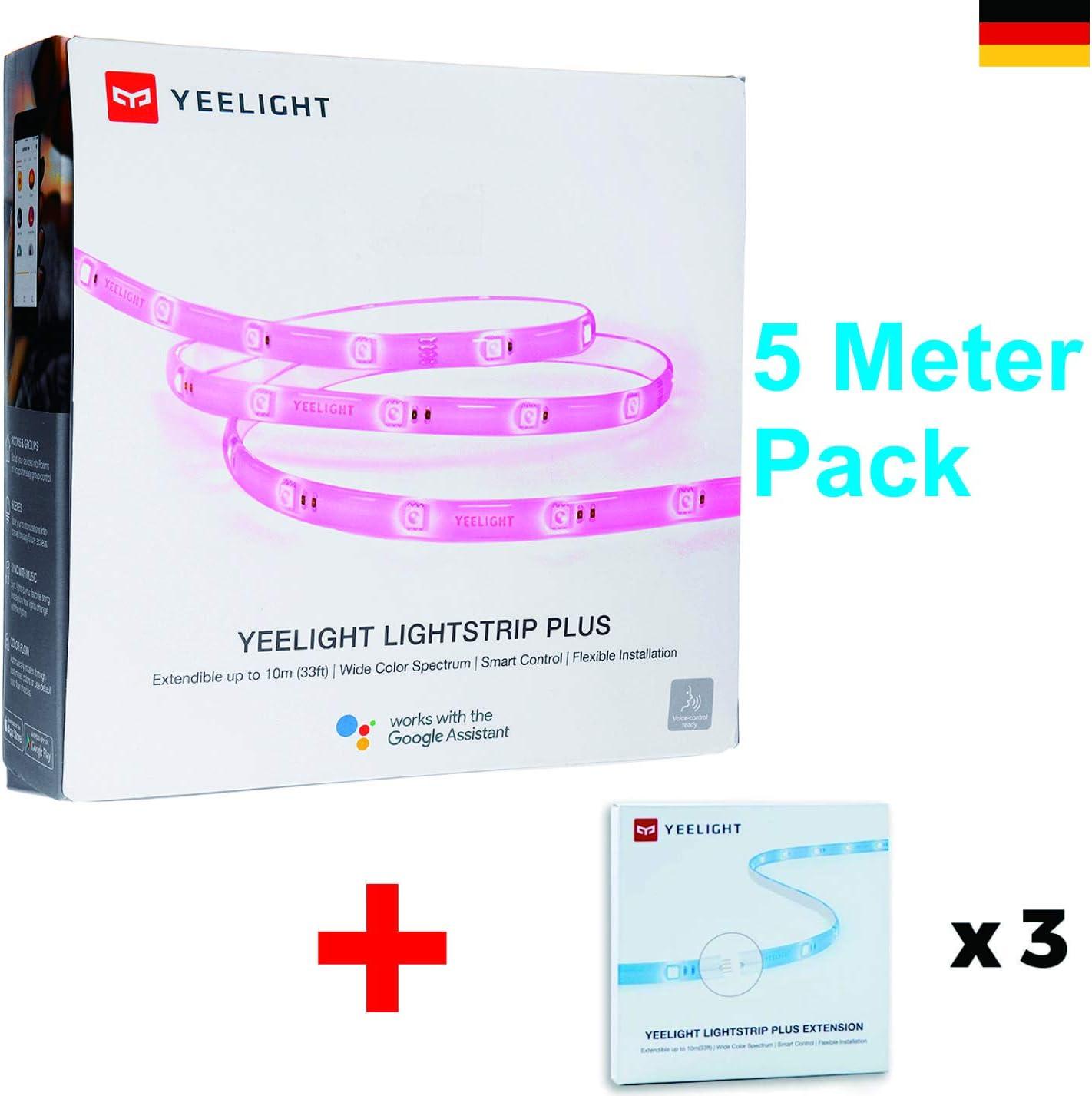 Yeelight Lot de 5 guirlandes Lumineuses avec rallonge jusqu/à 10 m WiFi RVB