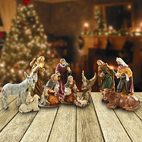 BRUBAKER Christmas Decoration Nativity Set – 10 Inch Real Life Nativity Set 11 Figurines in Real Life Nativity Scene