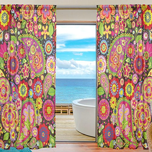 SEULIFE Window Sheer Curtain Spring Floral Paisley Voile Curtain Drapes for Door Kitchen Living Room Bedroom 55x78 inches 2 Panels