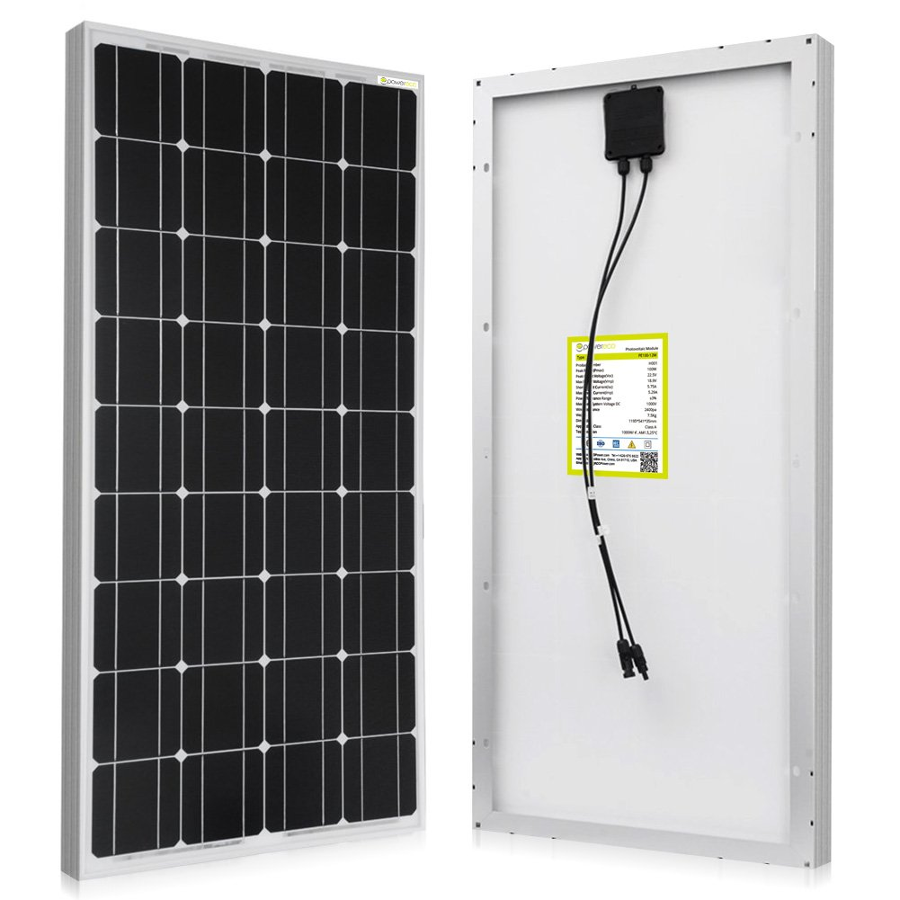 Powereco 100 Watt Solar Panel for 12V Battery of RV and Boat Monocrystalline 100w, Solar Panel
