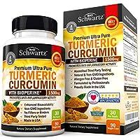Curcumina de cúrcuma con Bioperine 1500mg. La potencia más alta disponible. Alivio del dolor de primera calidad y soporte articular con 95% de curcuminoides estandarizados. No-OGM, cápsulas de cúrcuma sin gluten con pimienta negra.