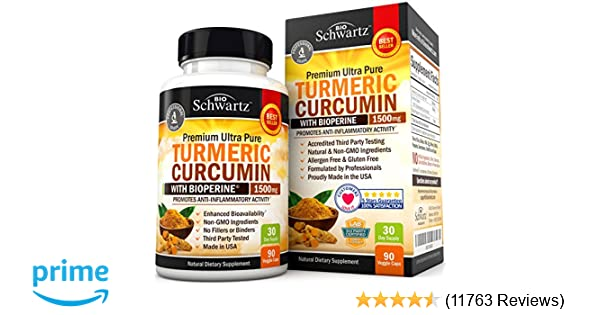 Turmeric Curcumin with Bioperine 1500mg. Highest Potency Available. Premium Pain Relief & Joint Support with 95% Standardized Curcuminoids. Non-GMO, ...