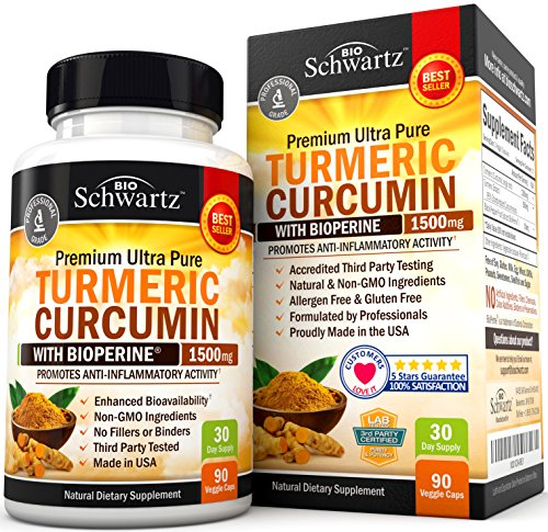 Turmeric Curcumin with Bioperine 1500mg. Highest Potency Available. Premium Pain Relief & Joint Support with 95% Standardized Curcuminoids. Non-GMO, Gluten Free Turmeric Capsules with Black Pepper. from BioSchwartz