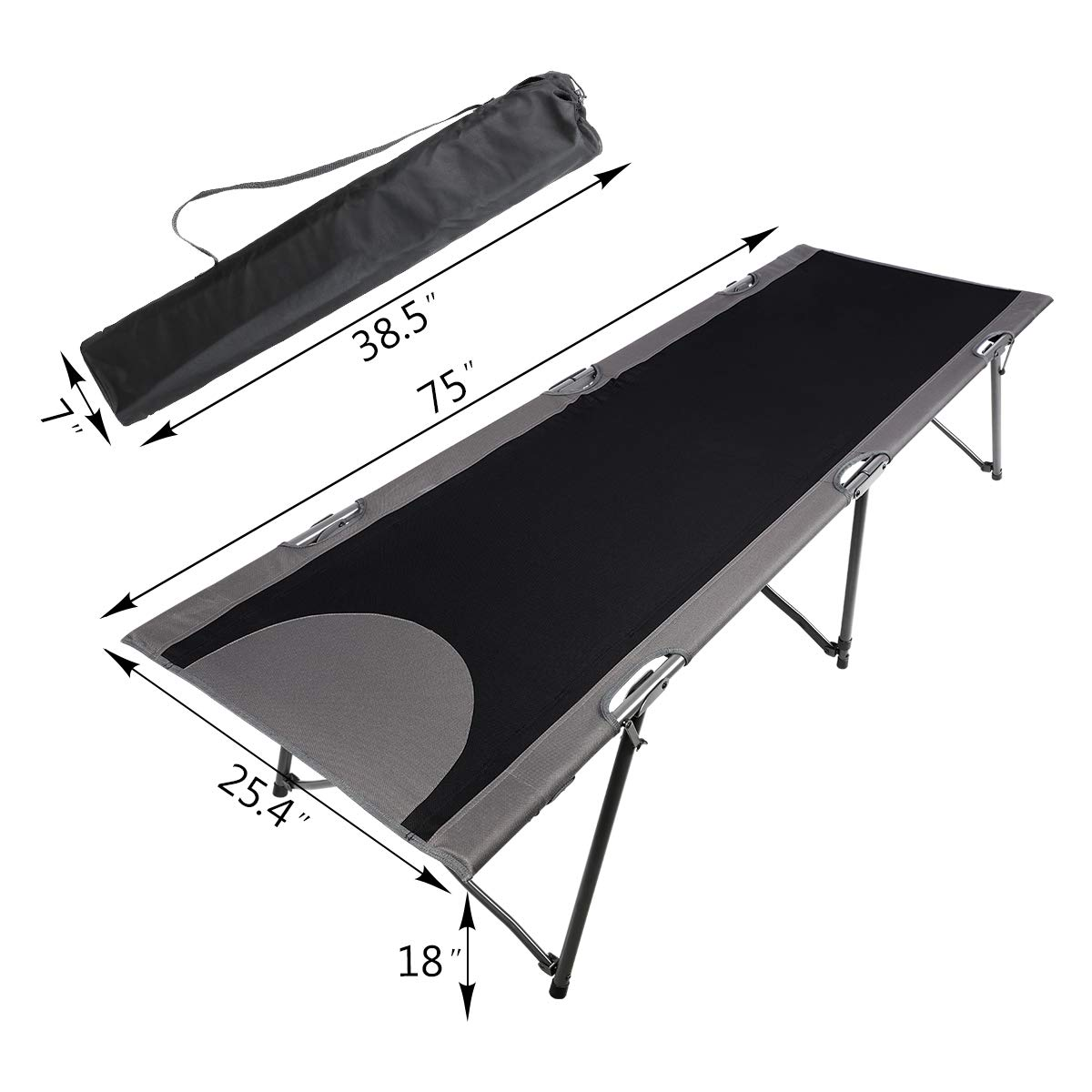 PORTAL Folding Portable Camping Cot Support 300lbs Travel Military Adult Cot Bed with Carry Bag