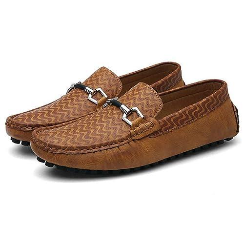 Mocasines para Barcos de Hombre Mocasines de Cuero con Cordones Zapatos Antideslizantes Conducción 2018 Zapatos de