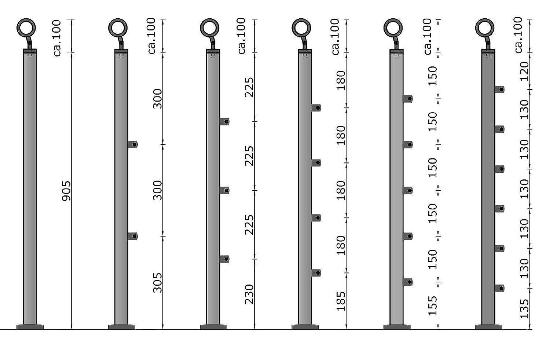 bis 2.5m inkl. 3 Pfosten 2 Querstangen Edelstahl-Handlauf Gel/änder f/ür Treppen Br/üstung Balkon mit//ohne Querstreben