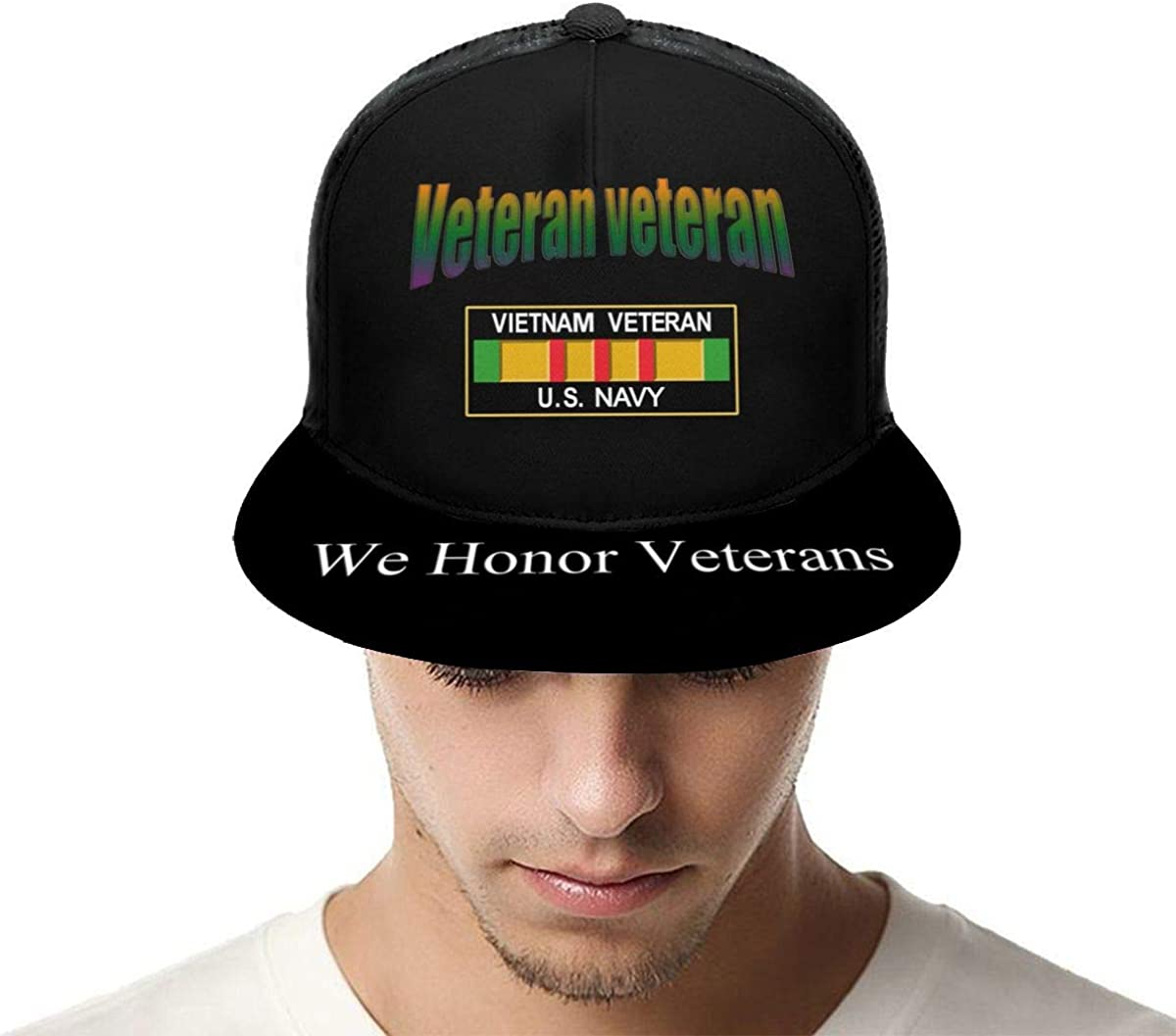 Vietnam Veteran U.S Navy Classic Grid Caps Flat Along Baseball Hats Snapback Men Women Hats Adjustable