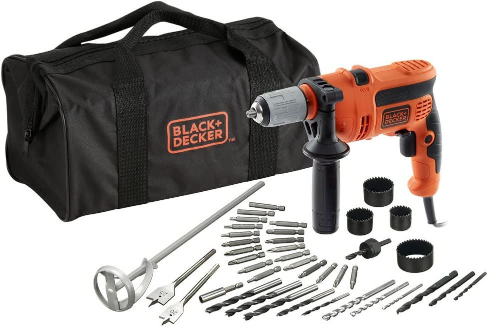 BLACK+DECKER CD714CREW2-QS Perceuse à percussion filaire - 47 600 cps/min - 2 vitesses - 40 accessoires - Livrée en sac de rangement 710W, 230V, Noir/Rouge, 33