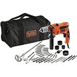 Black and Decker CD714CREW2-QS - Pack con taladro percutor, 40 accesorios y bolsa de almacenaje, 230 V, color negro y naranja