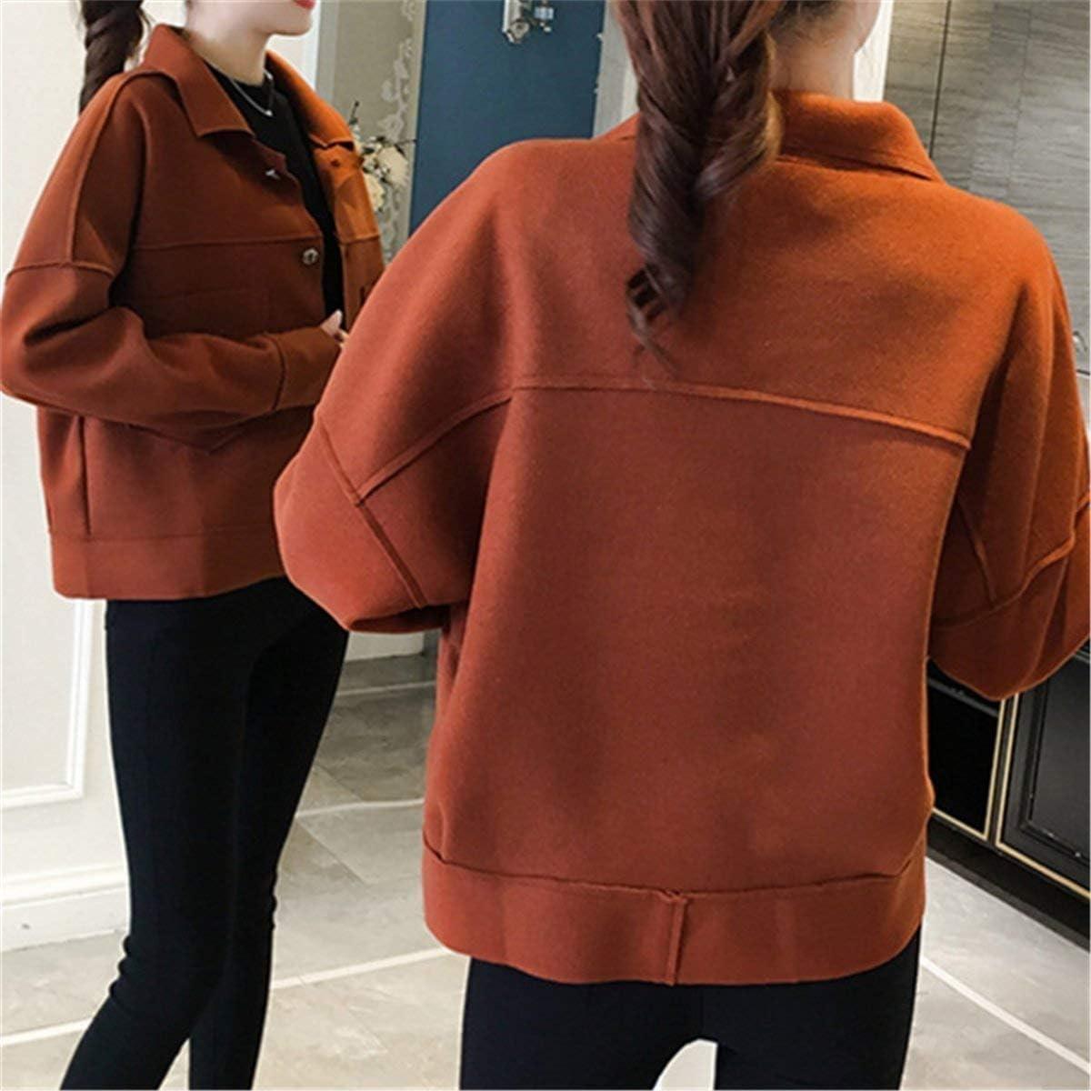 HX fashion Cappotto Corto Donna Invernali Baggy Coat Bavero Manica Lunga Tasche Anteriori Rot