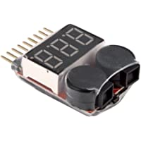 Yueton Rc 1-8s Lipo Battery Tester Monitor Low Voltage Buzzer Alarm Voltage Checker with LED Indicator for Lipo LiFe…