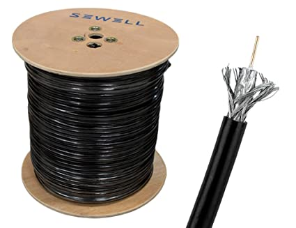 Sewell Direct SW-30082 RG59 Bulk Cable, CCS, Black, 95% Braid
