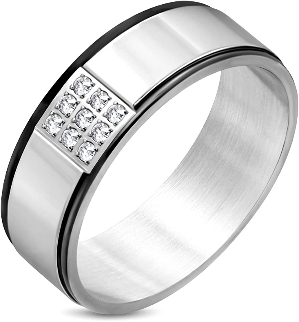 Stainless Steel 2 Color Pave Set Grid Comfort Fit Band Ring with Clear CZ