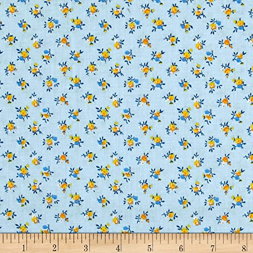 Calico Quilting Fabric - Santee Print Works New Country Calicos Flowers Powder Blue Fabric by the Yard