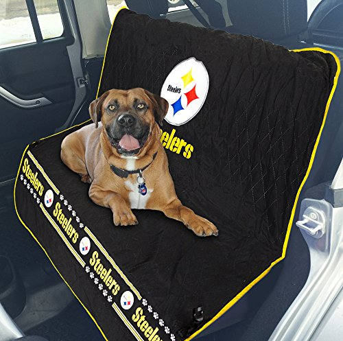 Pets First NFL CAR SEAT Cover - Pittsburgh Steelers Waterproof, Non-Slip Best Football Licensed PET SEAT Cover for Dogs & Cats.