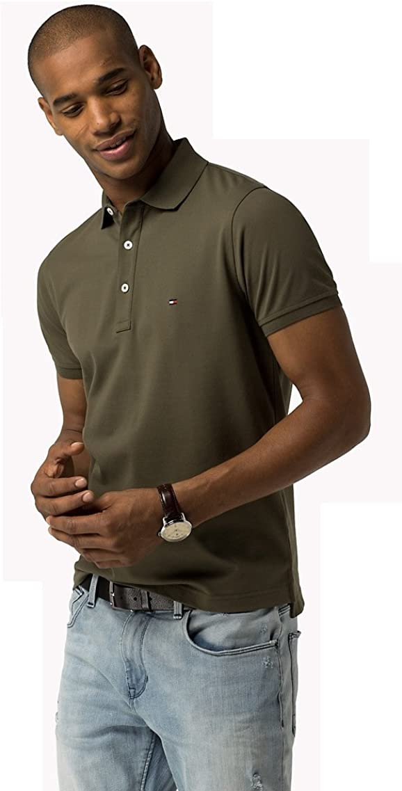 Tommy Hilfiger - Polo - para Hombre Verde Militar Medium: Amazon ...