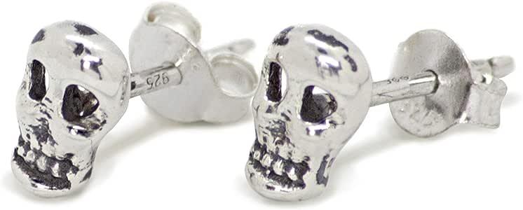 Skull Earrings in Nickel-Free 925 Silver with Butterfly Fastening