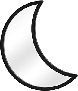 Moon Mirror - Wall Hanging Boho Room Decor for Home, Living Room, Bedroom, Nursery or Dorm - Wooden Crescent Shaped Moon Phases Decorations - Black Goth Moon Phase Shaped Mirror Art by Glenbarn