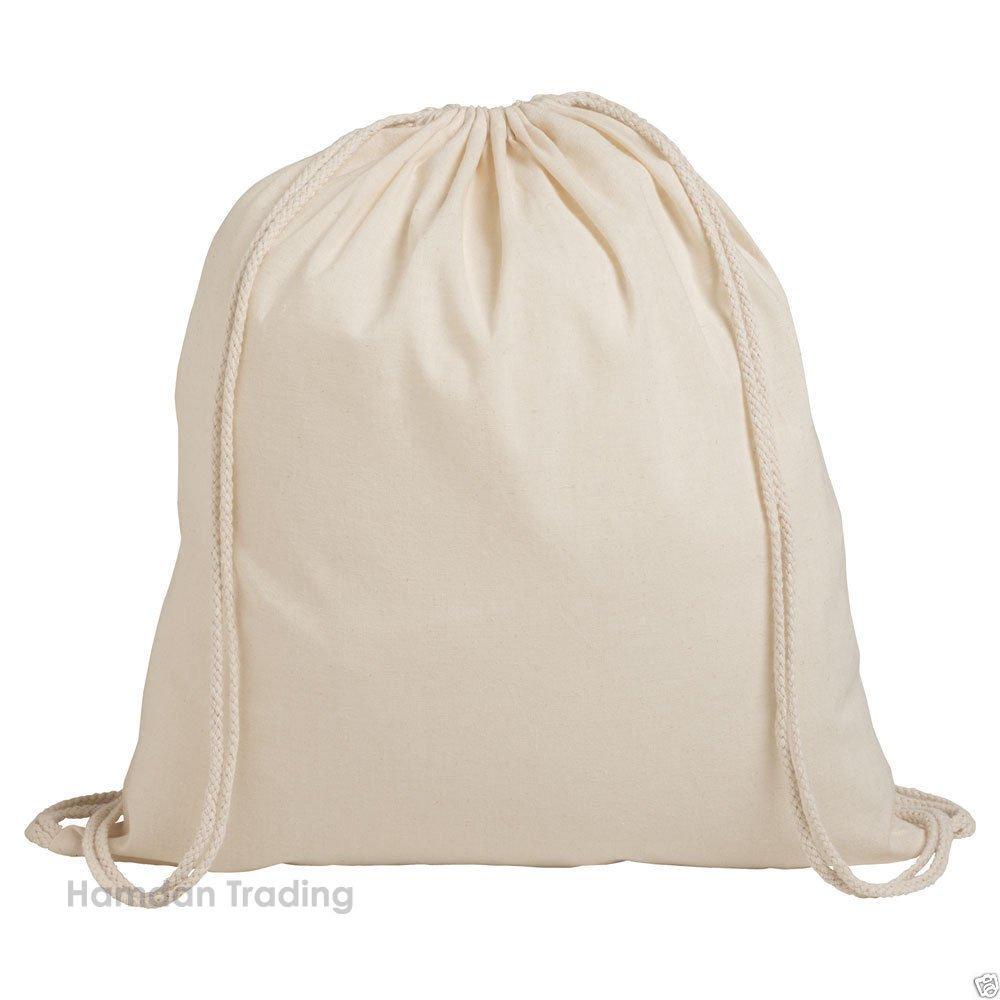 Pack of 1/3/5/10/25/50/100 Plain Natural Cotton Shopping School Bags Rucksacks Drawstring School Gym PE Book P E Eco Friendly Shoppers