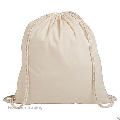 c75485c9f Pack of 1/3/5/10/25/50/100 Plain Natural Cotton Shopping School Bags  Rucksacks Drawstring School Gym PE Book P E Eco Friendly Shoppers: Amazon.co .uk: ...
